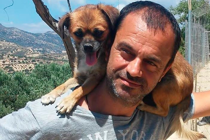 Theoklitos Proestakis himself with dog on shoulders